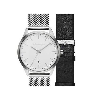 Montre Bracelet 3 aiguilles, bracelet interchangeable Milanese/cuir