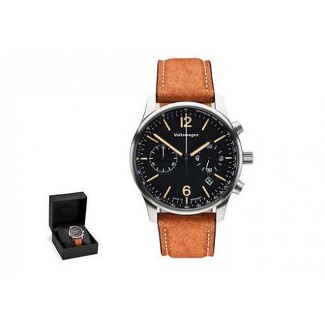 Montre Homme, chronographe, Noir/Marron, boîtier en acier inoxydable,